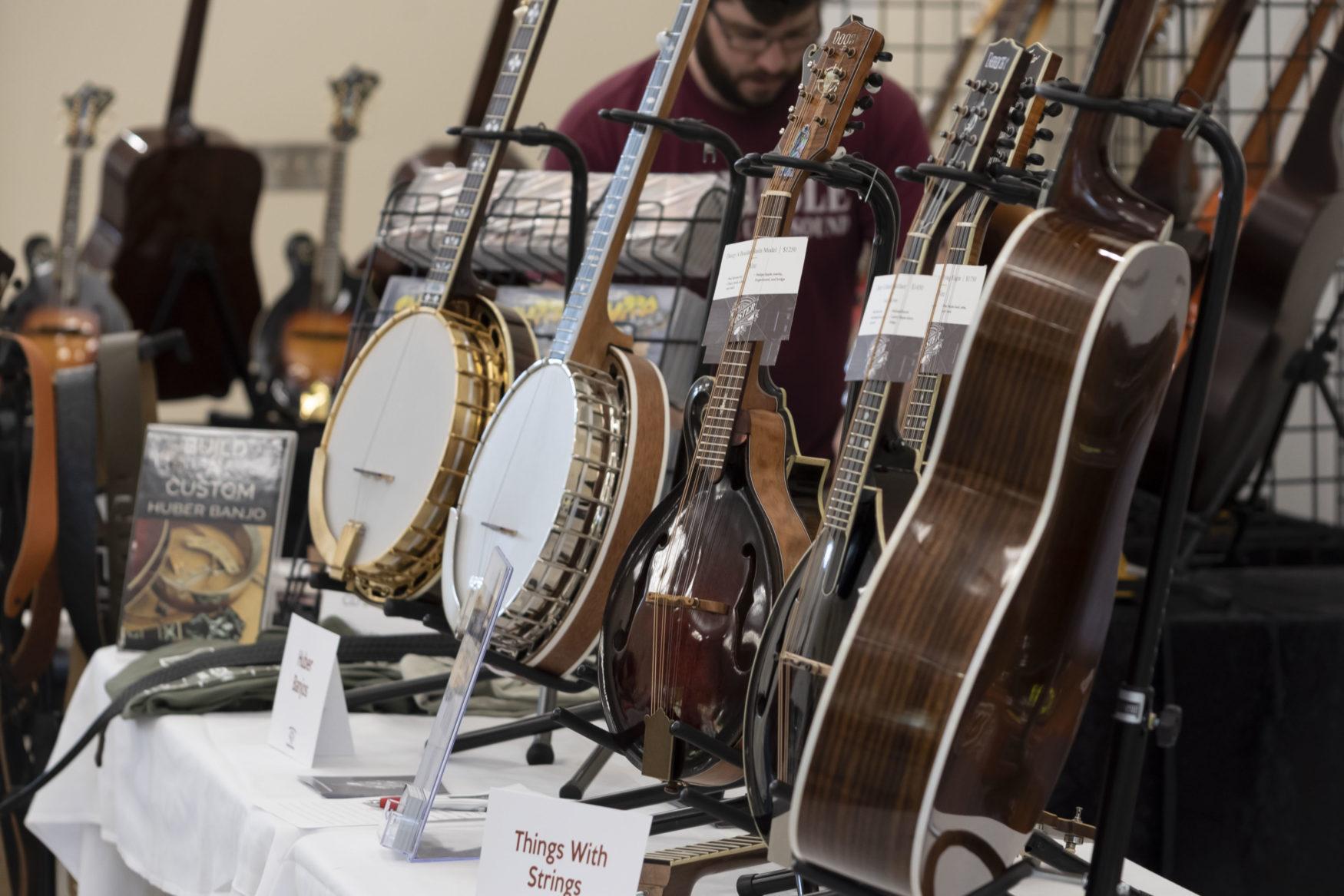 Instruments for sale at 2021 Fiddlers Convention